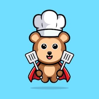 Leuke super aap chef-kok cartoon mascotte