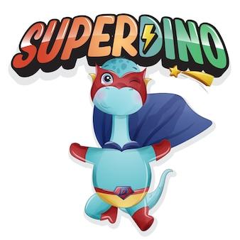 Leuke super dinosaurus met aquarel illustratie Premium Vector