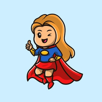 Leuke super hero girl cartoon pictogram illustratie.