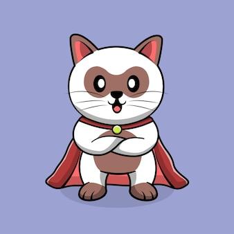 Leuke superheld kat cartoon.