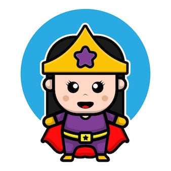 Leuke superheld meisje ontwerp cartoon afbeelding