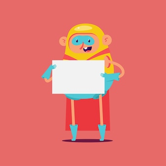 Leuke superheld met leeg tekenbord karakter op achtergrond.