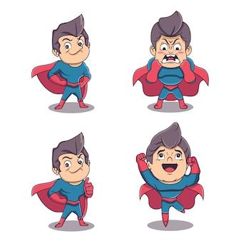Leuke superheldenkarakters in verschillende uitdrukkingen