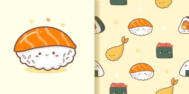 Leuke sushi cartoon patroon naadloze achtergrond
