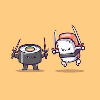 Leuke sushi en onigiri vechten cartoon pictogram illustratie. voedsel pictogram concept geïsoleerd premium. flat cartoon stijl