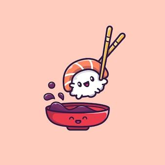 Leuke sushi met het pictogramillustratie van het sojasausbeeldverhaal. sushi eten pictogram concept geïsoleerd. flat cartoon stijl