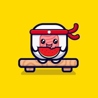 Leuke sushi roll eet watermeloen cartoon pictogram illustratie