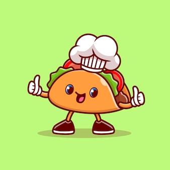 Leuke taco chef thumbs up cartoon pictogram illustratie. voedsel beroep pictogram concept geïsoleerd. flat cartoon stijl