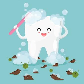Leuke tand karakters in vlakke stijl. gelukkig gezonde tanden reinigen en vlekken verwijderen met bacteriën.