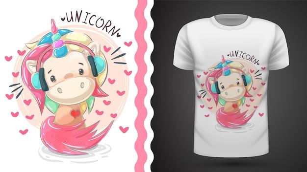 Leuke teddy eenhoorn luisteren muziek voor print t-shirt