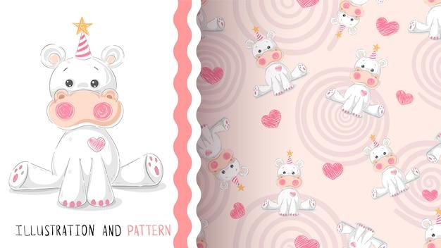 Leuke teddy hippo - naadloos patroon
