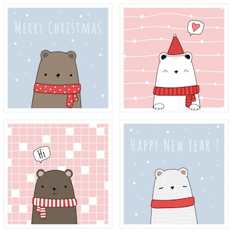 Leuke teddy ijsbeer vieren prettige kerstdagen en gelukkig nieuwjaar cartoon kaartenset