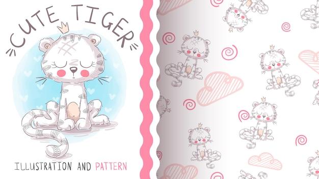 Leuke teddy tijger - naadloos patroon