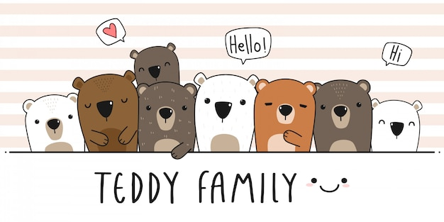 Leuke teddybeer familie cartoon doodle behang dekking
