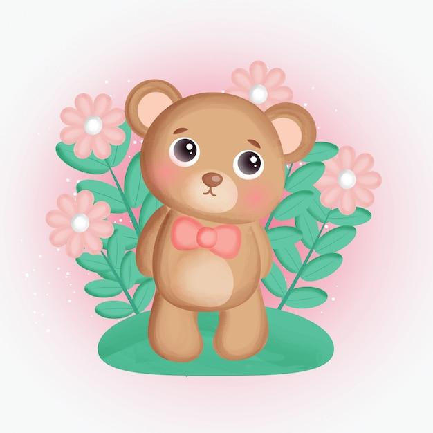 Leuke teddybeer in bloementuin.