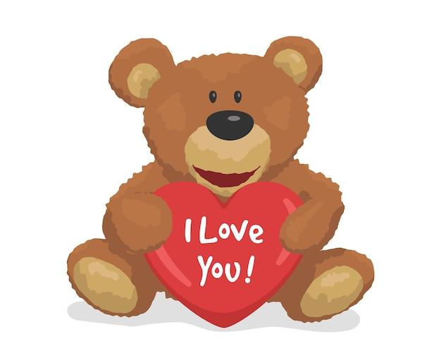 Leuke teddybeer met een hart. ik houd van je. ontwerpelement wenskaart voor valentijnsdag. vector illustratie.