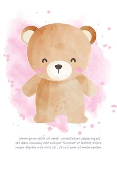 Leuke teddybeer voor wenskaart in aquarel stijl.