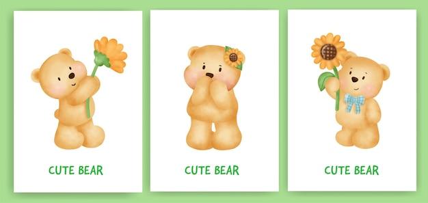 Leuke teddybeer wenskaart in aquarel stijl.