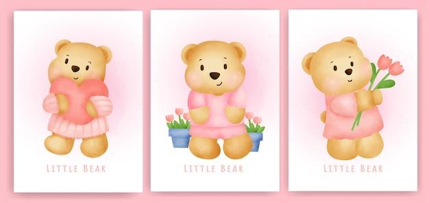 Leuke teddybeer wenskaart in aquarel