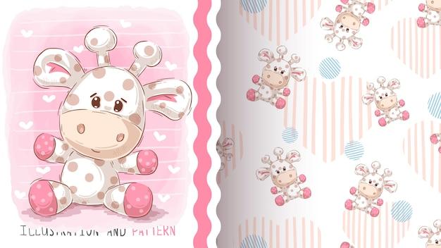 Leuke teddygiraf, naadloos patroon