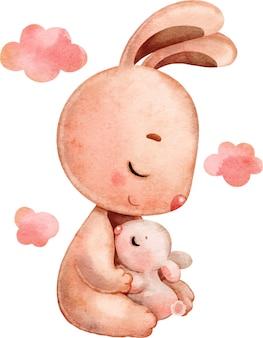 Leuke tedere feestelijke illustratie van moeder konijn en baby, geschilderd in aquarel.