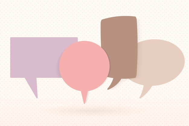 Leuke tekstballon vector afbeelding, pastel plat ontwerp