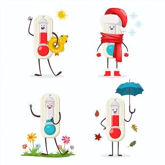 Leuke thermometer stripfiguur van vier seizoenen: winter, lente, herfst en zomer.