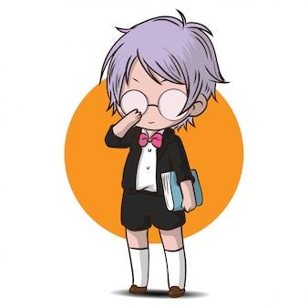 Leuke tienerstudent, nerd-kind