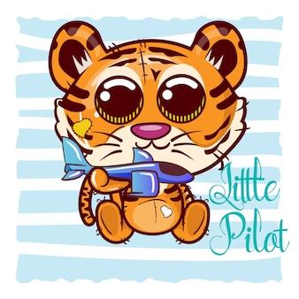 Leuke tijger cartoon met vliegtuig speelgoed. vector