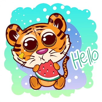 Leuke tijger cartoon met zoete watermeloen. vector