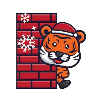 Leuke tijger die kerst viert