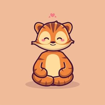 Leuke tijger meditatie leuke tijger yoga cartoon pictogram illustratie