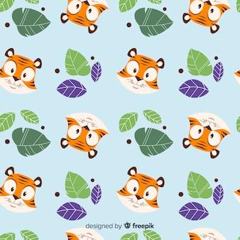 Leuke tijger met bladerenpatroon