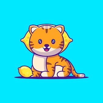 Leuke tijger met citroen cartoon afbeelding. dierlijk plat cartoonstijlconcept