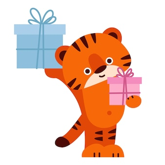 Leuke tijger met geschenkdozen. vectorillustratie in cartoon-stijl. geïsoleerd op een witte achtergrond.