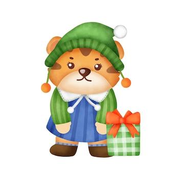 Leuke tijger met kerstelementen in aquarelstijl voor nieuwjaarswenskaart.
