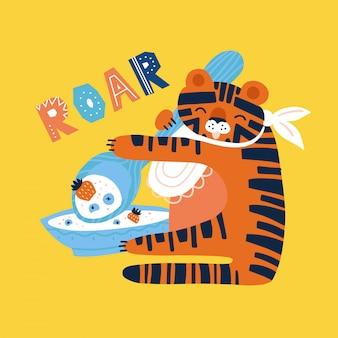 Leuke tijger met lepel en bord pap met bessen eten. vlakke hand getekende illustratie. roar doodle belettering offerte.