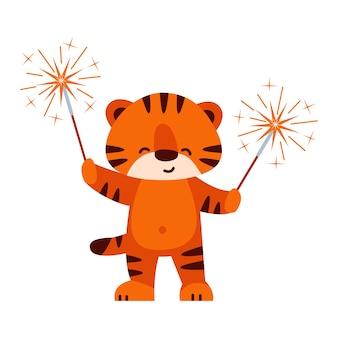Leuke tijger met sterretjes. vectorillustratie in cartoon-stijl. geïsoleerd op een witte achtergrond.