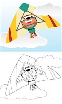 Leuke tijgercartoon berijdende deltavlieger