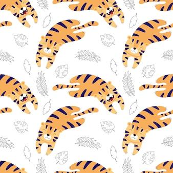 Leuke tijgers leggen, cartoon naadloos patroon voor kinderen.