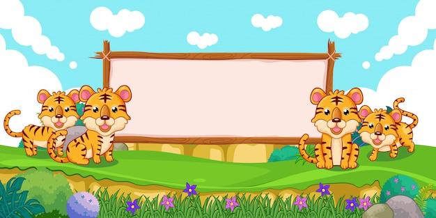 Leuke tijgers met een leeg tekenhout