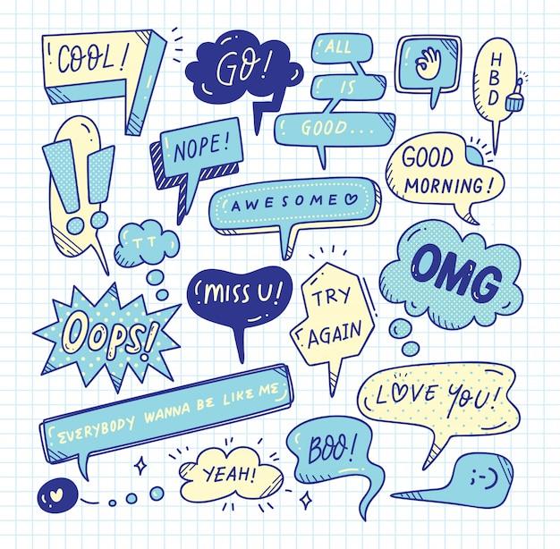 Leuke toespraak bubble doodle set