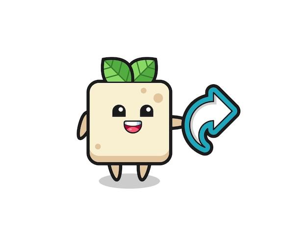 Leuke tofu houdt het symbool voor het delen van sociale media, schattig stijlontwerp voor t-shirt, sticker, logo-element
