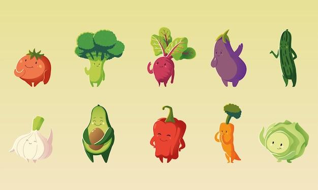 Leuke tomaat broccoli wortel aubergine sla groenten cartoon gedetailleerde icon set