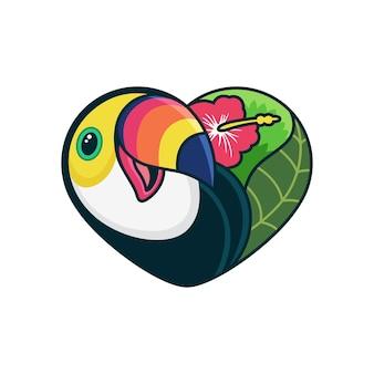 Leuke toucan cartoon met liefde cartoon pictogram illustratie. dierlijk pictogramconcept op witte achtergrond