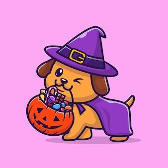 Leuke tovenaarshond brengt pompoen halloween cartoon vectorillustratie pictogram. dierlijke vakantie pictogram concept geïsoleerd premium vector. platte cartoonstijl