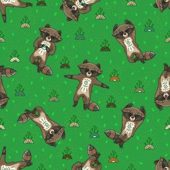 Leuke tribale wasberen. naadloos patroon