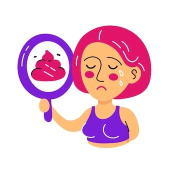 Leuke trieste huilende vrouw kijkt naar de spiegel en zie kak.