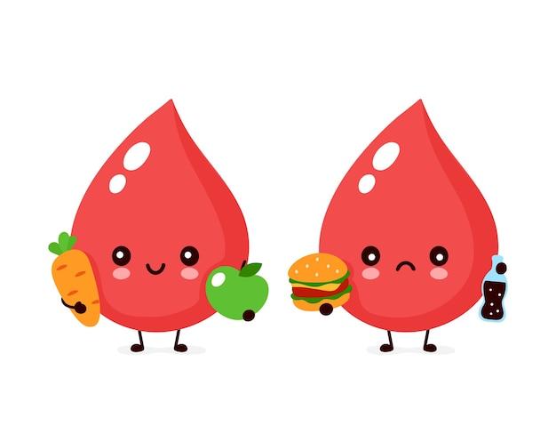 Leuke trieste ongezonde bloeddruppel met hamburger en frisdrank en gezond karakter. vector moderne trendy vlakke stijl cartoon illustratie pictogram ontwerp. geïsoleerd. bloed drop karakter concept