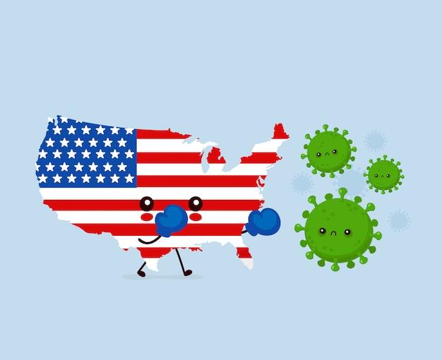 Leuke trieste vs vechten met coronavirus-infectie. vlakke stijl cartoon karakter illustratie